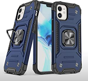 AB Business Group iPhone 12 Pro Military Style Armor Case with Rotating Ring Holder, Kickstand and Metal Stand for Magnetic Car Mount