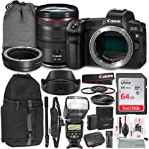 Canon EOS R Mirrorless Digital Camera with 24-105mm Lens and EF-EOS R Adapter + 3 Pc. Filter Kit + Flash + Monopod + Backpack & 64GB SD Card Deluxe Bundle