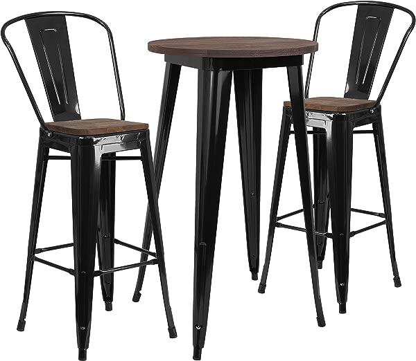 泰勒洛根金属木酒吧桌子和 2 个凳子套装黑色