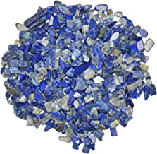 Hypnotic Gems: 1 lb of Polished Lapis Lazuli Natural Rock Chips with Info Card - Tumbled Stones for Vases, Fountains, Art and Crafts, Jewelry Making, Crystal Healing and More!