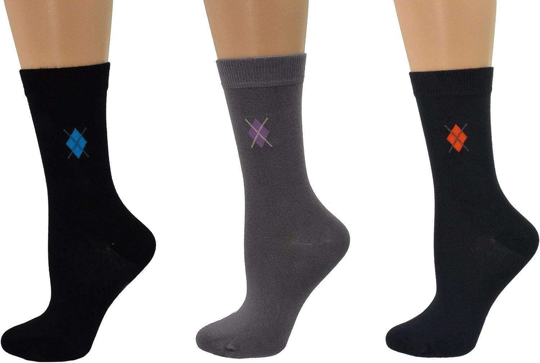 Sierra Socks Women's Dress Casual Argyle Crew 1 Pair or 3 Pair Pack 4020 (Large, Navy/gray)