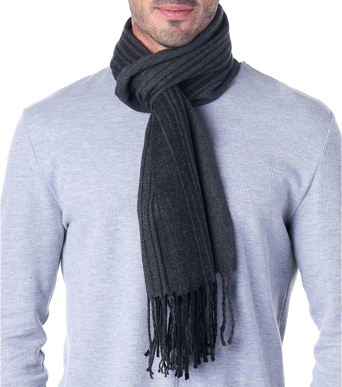 Hammer Anvil Mens Plaid Scarf Ultra Soft Winter Scarves Unisex Gray& Black Striped