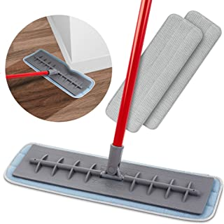 Tyroler Balai Microfibre Coussinet Humide et Sec (45cm) Balai Serpillère 100% Silicone Flexible | avec 2pcs Lingettes Micr...