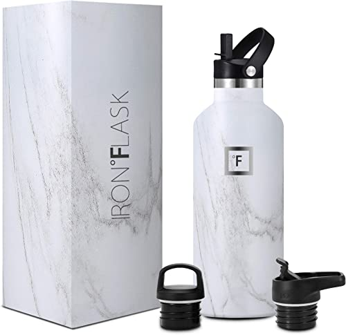 IRON °FLASK Sports Water Bottle - 32 Oz, 3 Lids (Straw Lid), Vacuum Insulated Stainless Steel, Hot Cold, Modern Doubl...