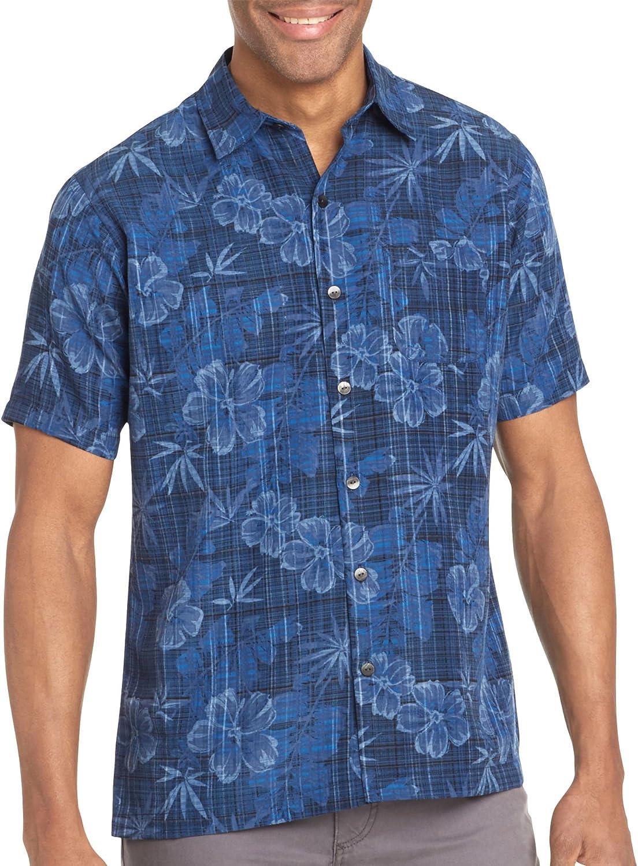 Van Heusen Men's Short Sleeve Floral Poly Prints Button Up
