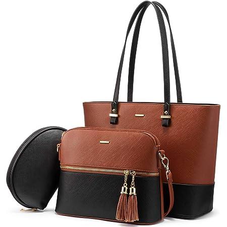 LOVEVOOK Handtasche Damen Schultertasche Handtaschen Tragetasche Damen Groß Designer Elegant Umhängetasche Henkeltasche Set 3-teiliges Set (Braun-schwarz)