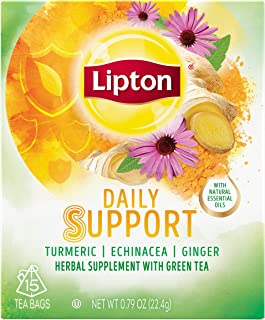 Lipton Herbal Supplement with Green Tea, Daily Support, 15 count