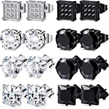 FIBO STEEL 4-8 Pairs Stainless Steel Stud Earrings for Men Women Square CZ Earrings,6-8MM