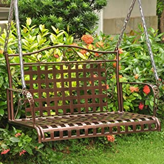 International Caravan 52561-OG-165263-O-852752 Iron Outdoor Porch Swing, 4', Hammered Bronze