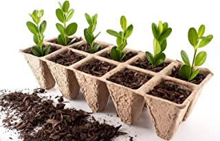 Seed Starter Trays | Pack of 10 X 10 Cell Germination Peat Pots | Bonus 30 Plant Markers | Biodegradable Seedling Pots for Plants | Organic Plant Starter Trays | Seedling Trays