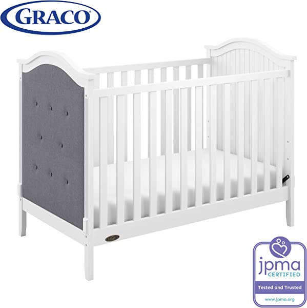 Graco Linden Upholstered 3 In 1 Convertible Crib White Gray Easily Converts To Toddler Bed Day Bed 3 Position Adjustable Height Mattress