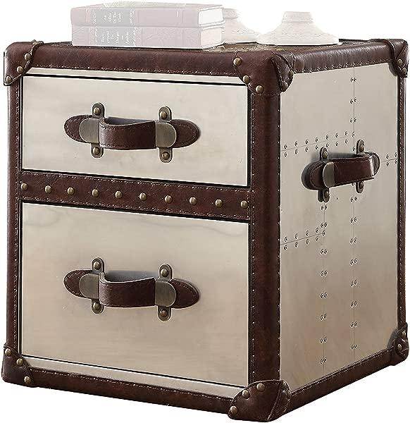 Acme Furniture 82292 Aberdeen End Table Vintage Dark Brown Top Grain Leather Aluminum