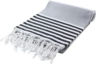 Cacala Marina Series Peshtemal Turkish Hammam Bath Towels, Traditional Peshtemal Design for Bathrooms, Beach, Sauna, Ultra-Soft, Fast-Drying 37x70 100% Natural Cotton Silver