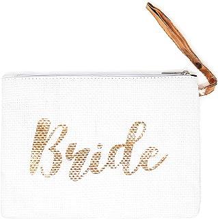Funky Junque Womens Bride Clutch Beach Wedding Mini Zipper Handbag Travel Pouch