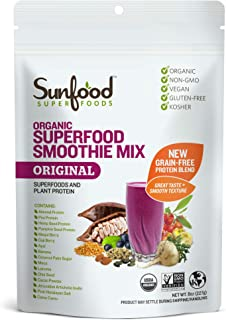 Sunfood Organic Superfood Smoothie Mix- Original Flavor | New Plant-Based Protein Blend (Pea, Hemp, Almond, Pumpkin) High ...