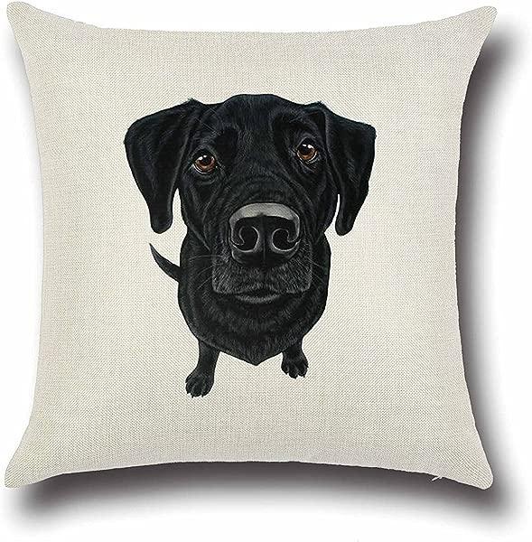 Acelive Black Labrador Retriever Pattern Elegant Throw Pillow Case Cushion Cover Decorative For Home Sofa Cotton Linen Blend Fabric Square Pillowslip Pillowcase 18 X 18 Inches