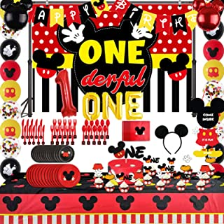 143PCS Mickey 1st Birthday Party Supplies Decorations, Mickey Onederful Backdrop, Mouse TableCloth, Flatware, Spoons, For...