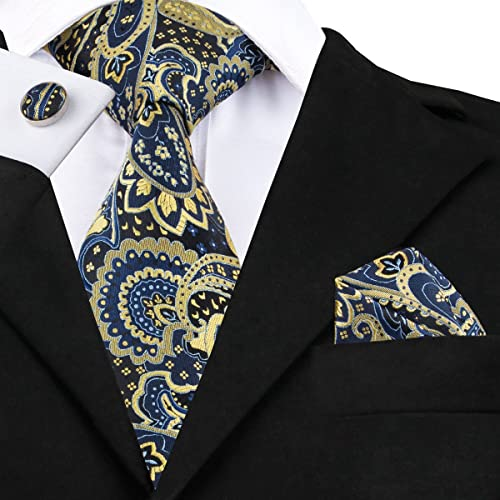 Formal Wedding Blue Gold Paisley Man/'s Tie Classic JACQUARD Woven Necktie Tie
