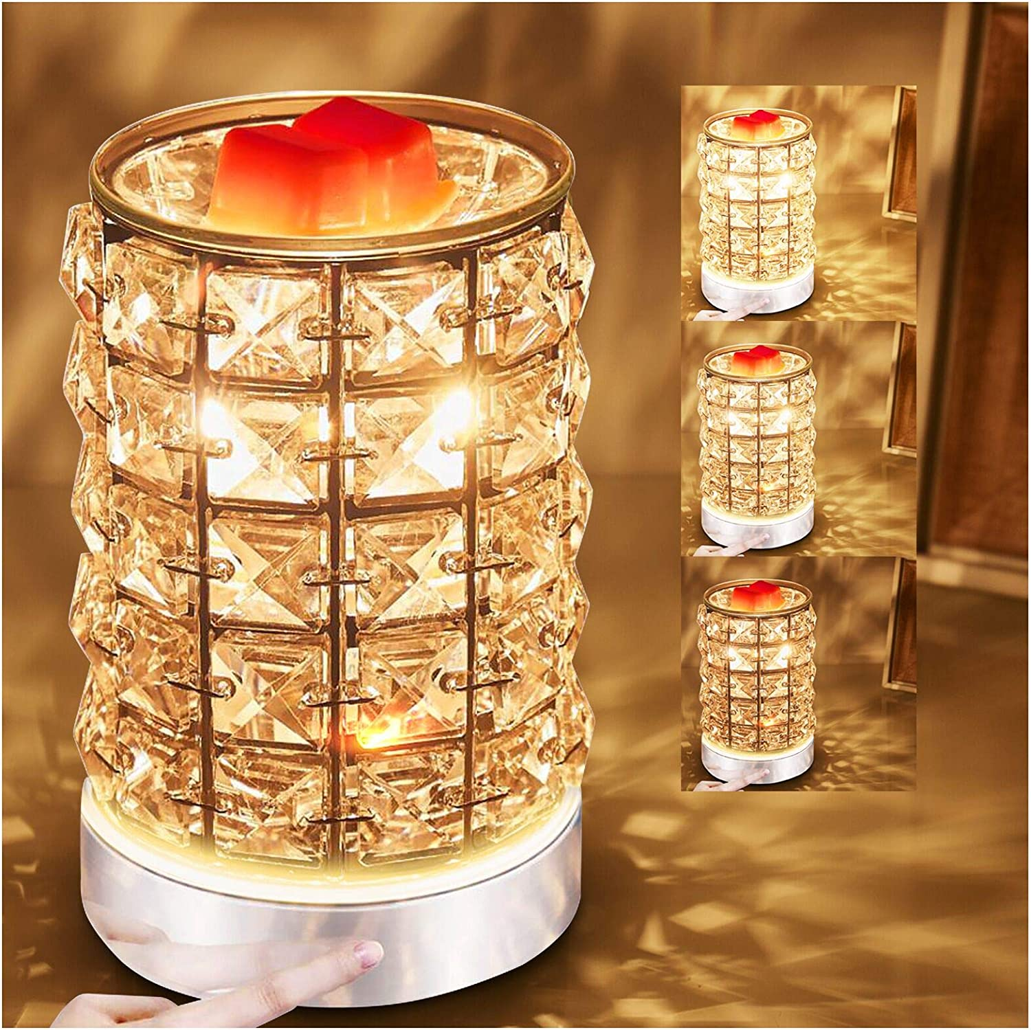 HEKALU Crystal Touch Electric Wax Limited time cheap sale shopping Dimmableï¼ Warmer with Melts