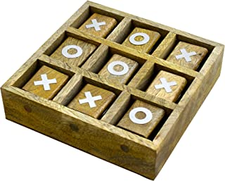 RoyaltyRoute Handmade Tic Tac Toe Classic Board Games Noughts and Crosses Wooden Puzzle Board Games - Gifts for Kids, Adults, Boys, Girls & Children