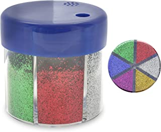 Emraw Primary Color - Blue, Green, Purple, Silver, Gold & Red 60g/2.12 Oz. Glitter Shaker for Crafts, Projects & Decorations.