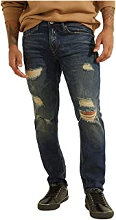 GUESS Men's Slim Fit Mid Rise Tapered Leg Ripped Jean
