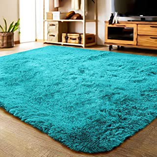 LOCHAS Ultra Soft Indoor Area Rug Thick Shaggy Bedroom Living Room Carpets for Kids Nursery Room, 5.3 x 7.5 Feet Blue