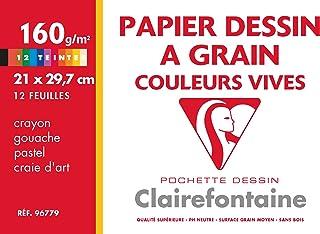 Clairefontaine 96779C - Pochette Dessin Scolaire - 12 Feuilles Papier Dessin à Grain Couleurs Vives Assorties - A4 21x29,7...