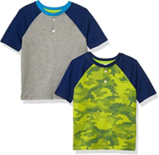 Amazon Essentials 2-Pack Boys Short-Sleeve Henley Shirt Fashion-t-Shirts, Paquete de 2 Camuflaje Lima, EU 104-110 CM