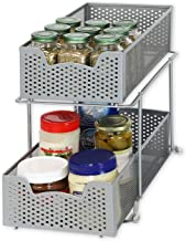 SimpleHouseware 2 Tier Sliding Cabinet Basket Organizer Drawer, Silver