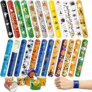 Kidtion 44 PCS Halloween Slap Bracelets Bulk, Halloween Decorations, 25 Styles for Halloween Party Favors Classroom Gifts,...