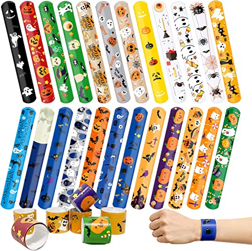 new arrival Kidtion 44 PCS discount Halloween Slap Bracelets Bulk, Halloween Decorations, outlet sale 25 Styles for Halloween Party Favors Classroom Gifts, Colorful Gifts for Kids/ Adults/Girls/Boys 1.2 x 9 Inch outlet sale