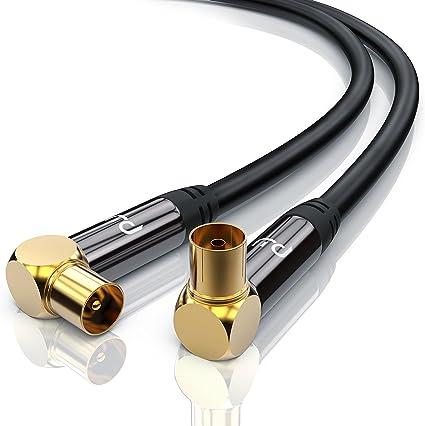 0,5m Cable de Antena HQ HDTV Premium - En ángulo 90 Grado - Factor de blindaje 135 dB - Resistencia 75 ohmios - coaxial HDTV Full HD - Clavija Macho ...