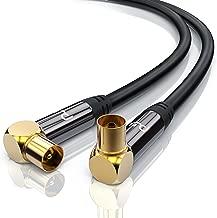 1,0m cable de antena HQ HDTV Premium - En ángulo 90 grado - factor de blindaje 135 dB - resistencia 75 ohmios - cable coaxial HDTV Full HD - clavija coaxial macho en acoplamiento coax - negro