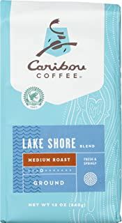 Caribou Coffee Lakeshore Blend, Medium Roast Ground Coffee, 12 Ounce Bag Smooth and Fresh Coffee from Guatemala, El Salvador & East Africa with Delicate Citrus Notes & Silky Body; Sustainably Sourced