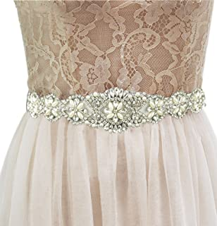 Lovful Bridal Crystal Rhinestone Braided Wedding Dress Sash Belt