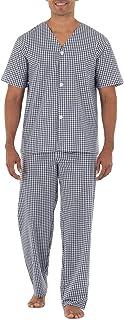 Men's Broadcloth Short Sleeve Top and Long Pants Pajama Set