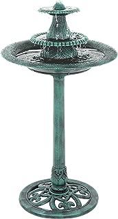 ZENY Birdbath Pedestal Bird Bath Outdoor Garden Decor Vintage Yard Art (Green w/Pump)