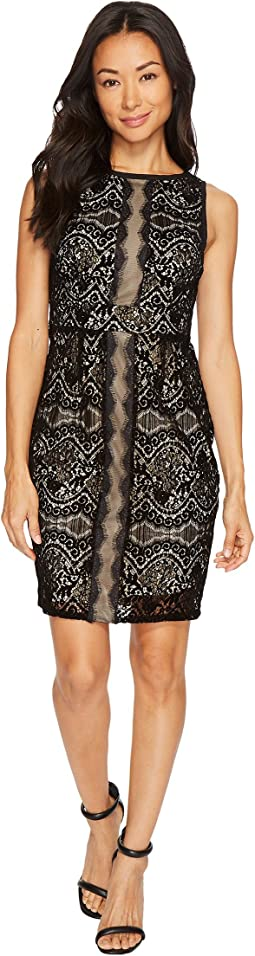 Petite Flocked Lurex Lace Mixed Media Sheath Dress