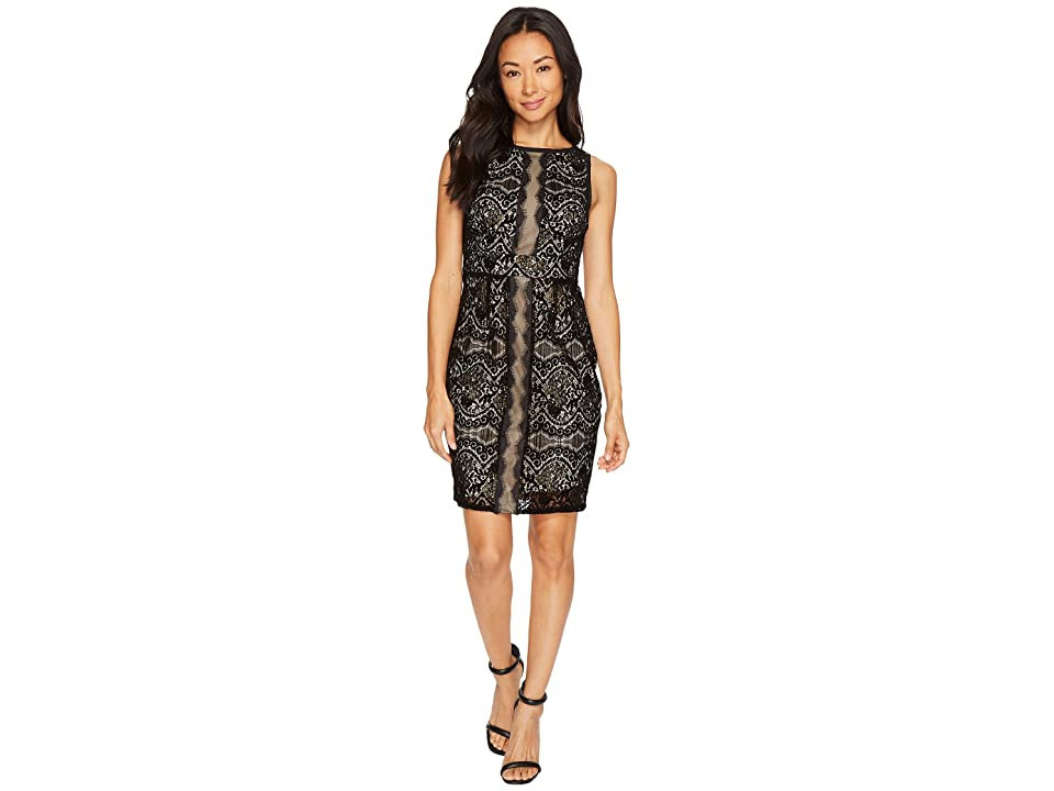 Adrianna Papell Petite Flocked Lurex Lace Mixed Media Sheath Dress (Black/Champagne) Women