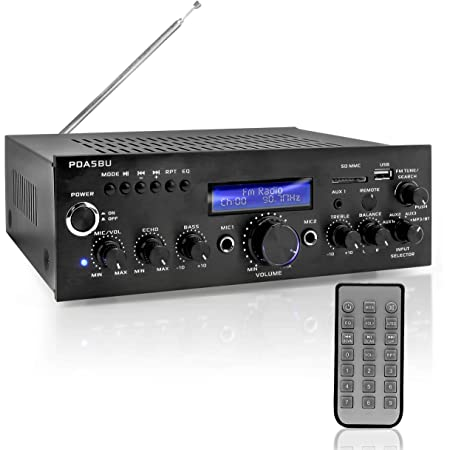 "Pyle Wireless Bluetooth Power Amplifier-200 Watt Audio Stereo Receiver w/USB Port, AUX in, FM Radio, 2 Karaoke Microphone Input, Remote-Home Entertainment System, 10.5"" x 8.8"" x 2.8"" (PDA5BU)"
