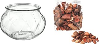 Digital Shoppy IKEA Scented Potpourri with Clear Glass Vase (Nutmeg and Vanilla Brown)