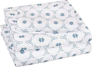 AmazonBasics Soft Microfiber Sheet Set with Elastic Pockets - Twin XL, Teal Blossom