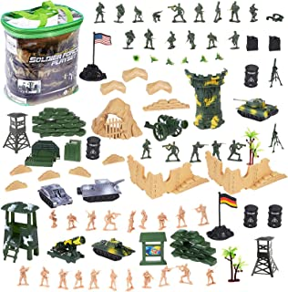 deAO 100 Piece Military Play Set with Toy Soldiers; Military Figures; Tanks; Planes; Flags; Carry Case and Battlefield Acc...