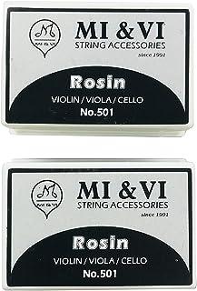 MI&VI Light Rosin for Violin, Viola, Cello Bows - Beige, Velvet Cloth, Box Resin, Square Shape, Super Sensitive (2 Rosin)