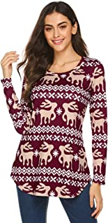 Chigant Womens Tunic Long Sleeve Cute Print Shirt Slim Fit Casual Round Neck T-Shirt Pullovers