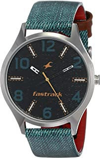 Fastrack Black Dial Blue Leather Strap Watch, 3184SL02 / 3184SL02
