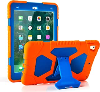 ACEGUARDER iPad 2017/2018 iPad 9.7 inch Case, Shockproof Impact Resistant Protective Case Cover Full Body Rugged Kids Kickstand Apple ipad 5 th/ipad 6 th Generation, Orange Blue