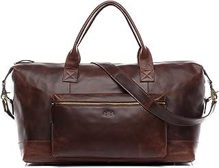 SID & VAIN Weekender mit großer Extra Tasche echt Leder Brixton XL groß Sporttasche Weekender Ledertasche braun