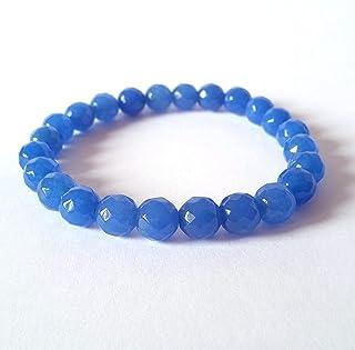 Bracciale Agata Blu Unisex, Pietre Dure Naturali, Elastico 19 cm, Fatto a Mano